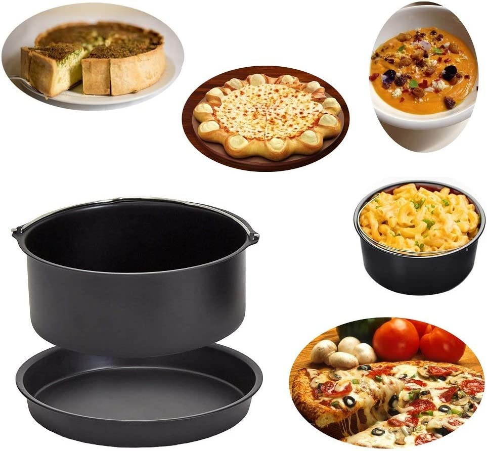 5.8 QT Standard Deep Fryers Non-stick Backing Black Set of 2 Air Fryer Accessories 7 Inch Cake Barrel Pizza Pan Fit for All 3.2QT
