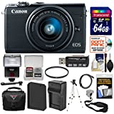 Canon EOS M100 Wi-Fi Digital ILC Camera & EF-M 15-45mm is STM Lens (Black) 64GB Card + Battery & Charger + Case + Strap + Filter + Tripod + Flash + Kit