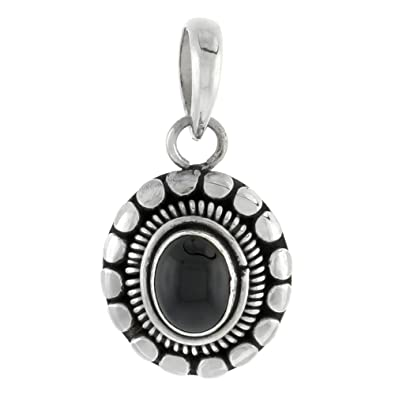 Amazon com: Sterling Silver Oval-shaped Pendant, 9 x 7 mm Cabochon
