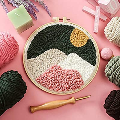 DIY Punch Needle Craft with Embroidery Pattern Cloth Punch Needle Starter Kits Snow Capped Mountains Sewing Embroidery Pen Hoop Yarn Rug Tools Kit for Adults Kids Beginners