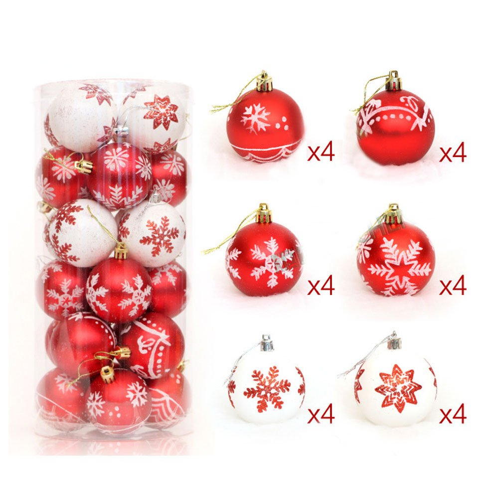 Liangcheng 24 pcs Christmas Balls Shatterproof Brightly Painted Pendant for Xmas Tree Decoration Blue + Silver