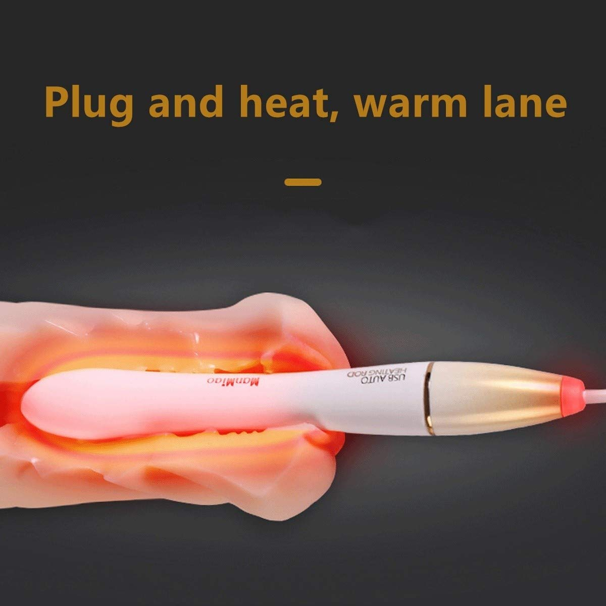 BAMBOSYT 2 in 1 USB Heating Rod Charging Simulation Adult Pink Body Temperature (Intelligent Thermostat 37.5 Degrees Celsius),for Adult Toy,Waterproof, Suitable for Beginners BAMBOSYT
