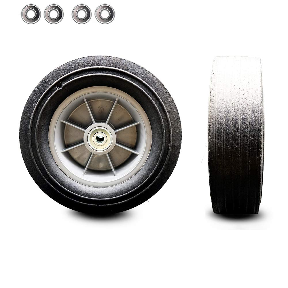 """10"""" x 2.75"""" Flat Free Hand Truck Dolly Wheel Only with a 2.25"""" Centered Hub and Ball Bearings - 550 lbs Capacity per Wheel - Service Caster Brand"""