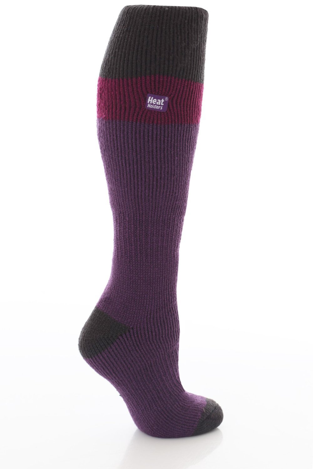 Womens Purple/Black Heat Holders Thermal Ski Socks 4-8