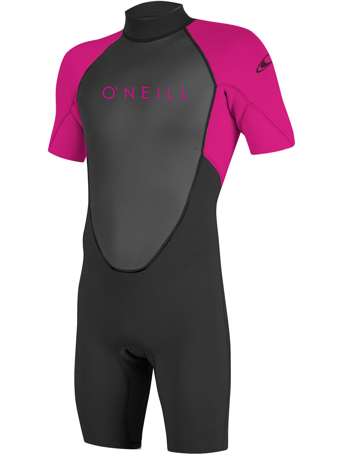 O'Neill Youth Reactor-2 2mm Back Zip Short Sleeve Spring Wetsuit, Black/Berry, 14 by O'Neill Wetsuits