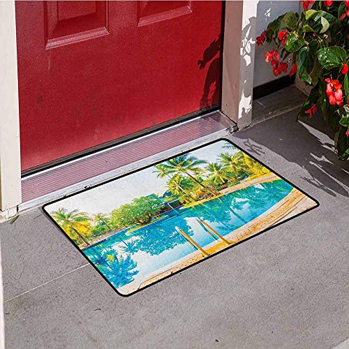 Gloria Johnson Landscape Front Door mat Carpet Umbrella and Chair Around The Round Pool Tourist Space Famous Spots Concept Machine Washable Door mat W29.5 x L39.4 Inch Green Blue Cream