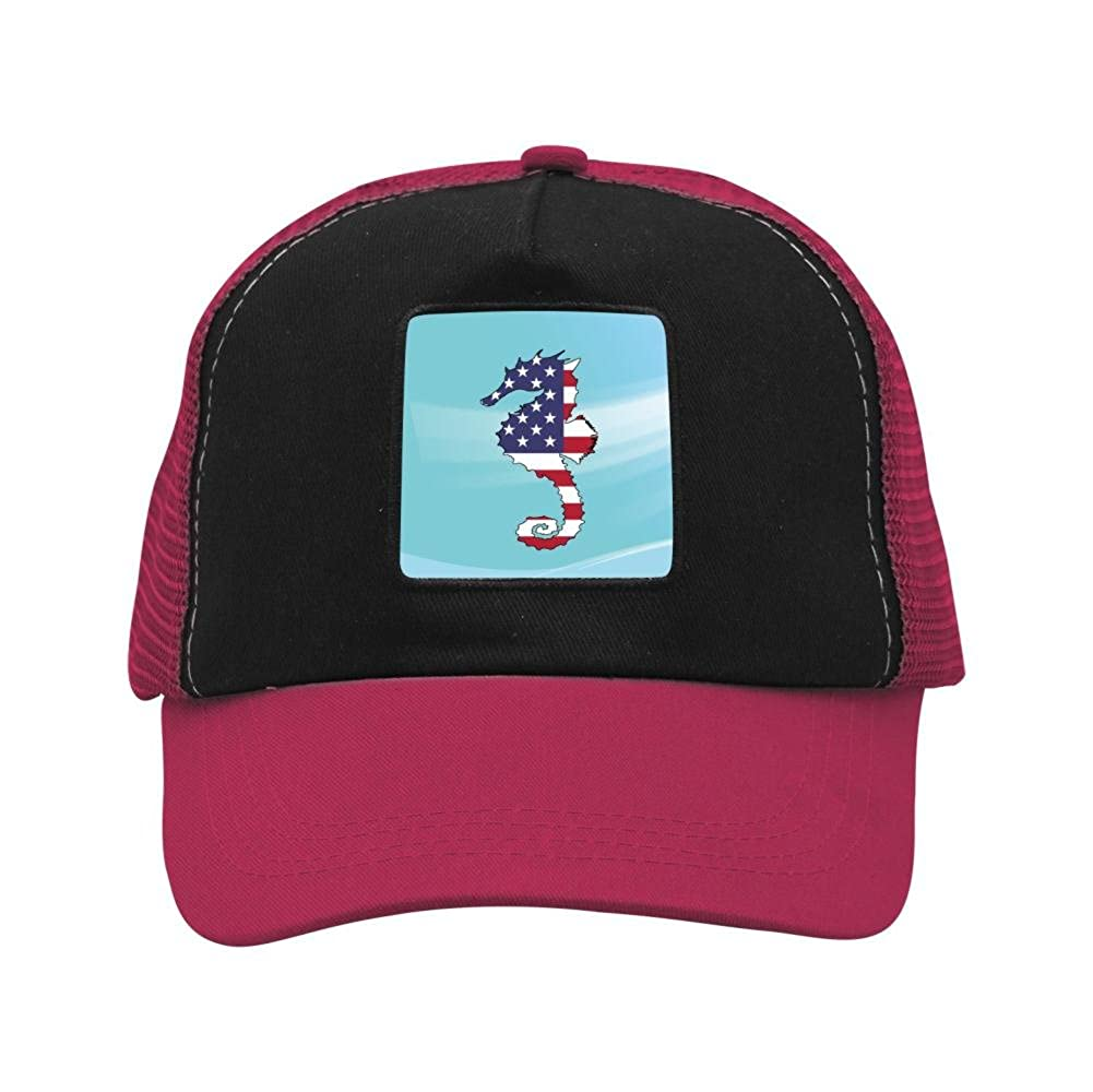 Nichildshoes hat Mesh Caps Hats for Men Women Unisex Print Hippocampal Flag