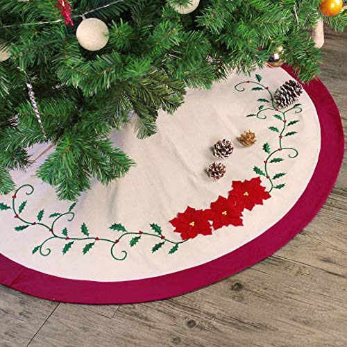 Holly Christmas Tree Skirt - Ivenf 48 inch Deluxe Embroidery Holly Leaves Poinsettia Red Green Cotton Christmas Tree Skirt, Traditional Xmas Tree Holiday Decorations