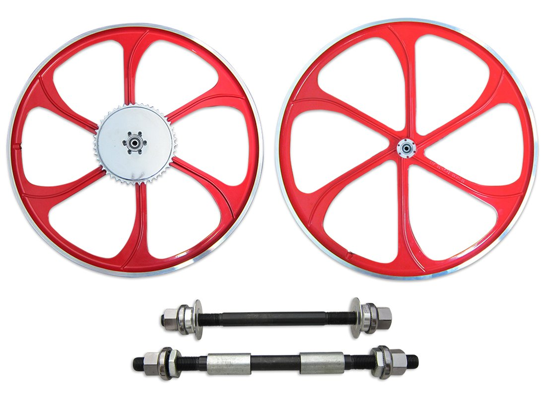BBR Tuning 26 Inch Heavy Duty Front Mag Wheel for Mountain Bikes, Beach Cruisers, Hybrid Bikes and Motorized Bicycles (Red) by BBR Tuning
