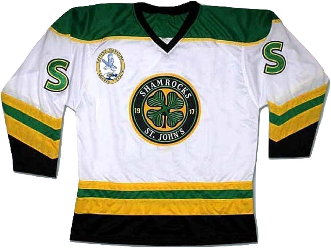 borizcustoms Ross The Boss Rhea ST Johns Shamrocks Hockey Jersey with EMHL Patch Stitch
