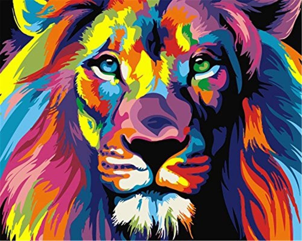 Framed Neon Lion Colorful Animals 16x20 Inch Linen Canvas Acrylic DIY Number Painting Kits Wall Art Decor Gifts YEESAM ART Paint by Numbers for Adults Kids