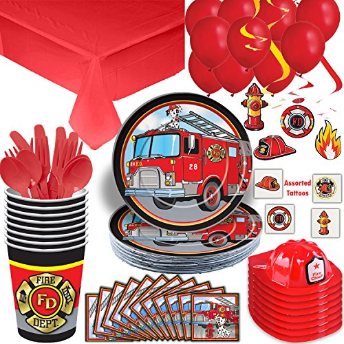 Firefighter Party Supplies Set - 16 Guest - Plates, Cups, Napkins, Cutlery, Tablecloth, Fire Hats, Hanging Swirls, Balloons, Temporary Tattoos - The Ultimate Fire Truck Birthday Party Bundle