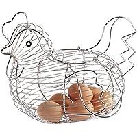 Hemore Pollo diseño de Alambre de Metal Cesta de Huevos práctico Tejido de Almacenamiento de Huevos Titular para Cocina Comedor Sala de Plata