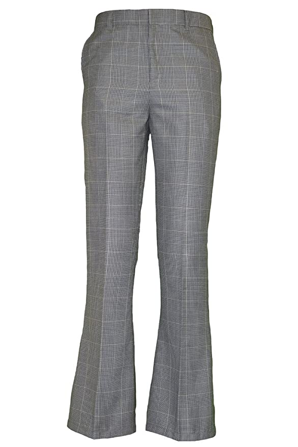 1960s Men's Clothing, 70s Men's Fashion Checked Bell Bottom Trousers $38.00 AT vintagedancer.com