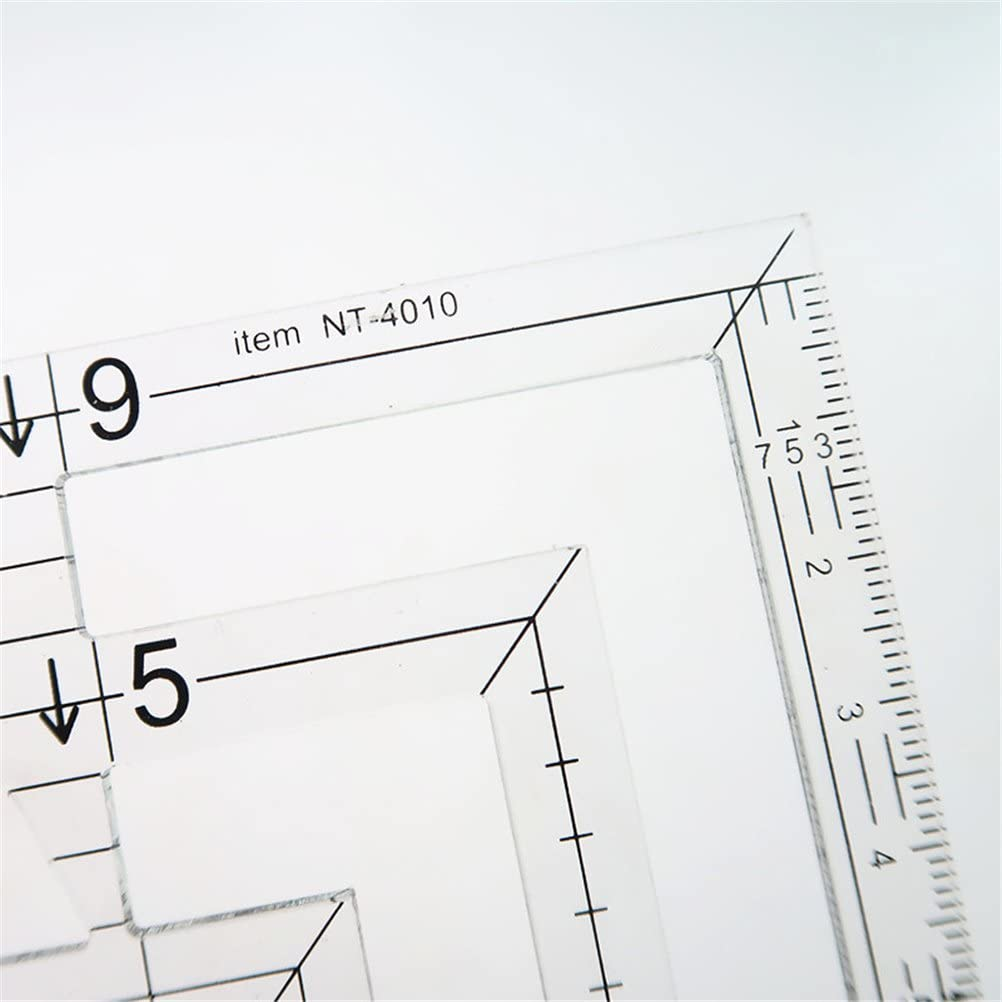 accesorio para herramienta de costura Healifty doble regla acr/ílica transparente Regla de acolchado doble cuadrada