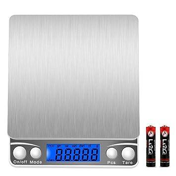 Escala digital de cocina de 3000 g/0,1 g, báscula de bolsillo de alta precisión, multifuncional Pro con pantalla LCD retroiluminada, peso de laboratorio ...