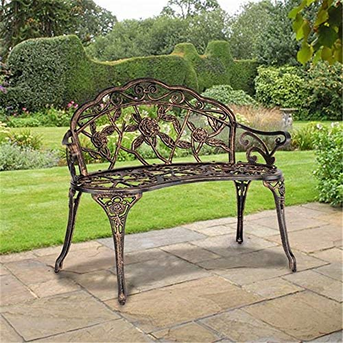 Patio Park Garden Bench, 39in Antique Finish Outdoor Floral Rose Accented Metal Bench, 400 lbs Garden Furniture w Cast Iron Aluminum Frame Bronze Decor Seat, Front Decor Deck Chair for Outdoor