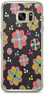 Samsung Galaxy S7 Transparent Edge Phone Case Daisy Phone Case Daisy Pattren Floral Pattern Samsung S7 Cover with Transparent Frame
