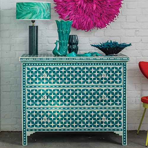 3832e31698d5 Luxury Handicrafts Star Bone Inlay Chest Of Drawers-Teal: Amazon.co.uk:  Kitchen & Home