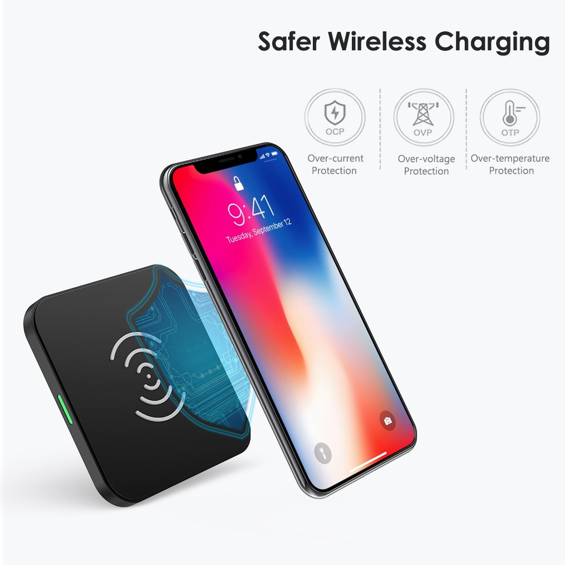 CHOETECH 10W Fast Wireless Charger Compatible Samsung Galaxy S9, S9 S8 Plus,Note 8, S8, S7, S7 Edge, Standard Wireless Charging Pad Compatible iPhone X, 8, 8 Plus (No AC Adapter) by CHOETECH (Image #4)