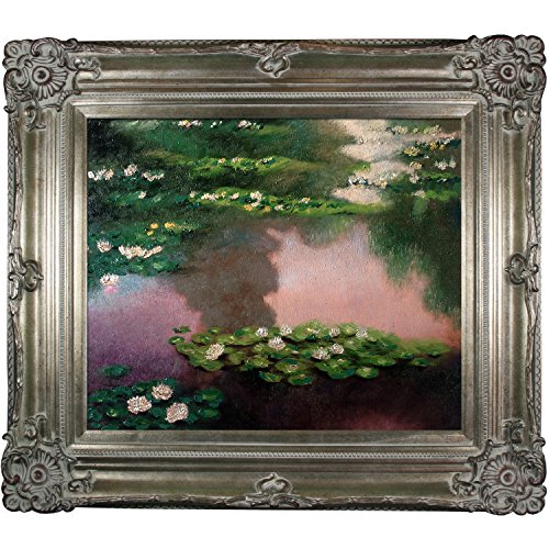 La Pastiche Water Lilies, Green And Violet Metallic Embellished Artwork