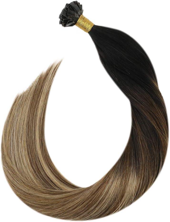 Ugeat 18 Pulgadas Flat Tip Extensiones Keratina Pelo Natural #1b/4/27 Negro con Castano y Rubio Pre Bonded Remy Human Hair Extensions