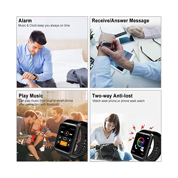 Smart Watch,Bluetooth Smartwatch Touch Screen Smart Phone Watch Android  Smartwatch with Camera/SIM Card Slot Waterproof Bluetooth Smart Watch for