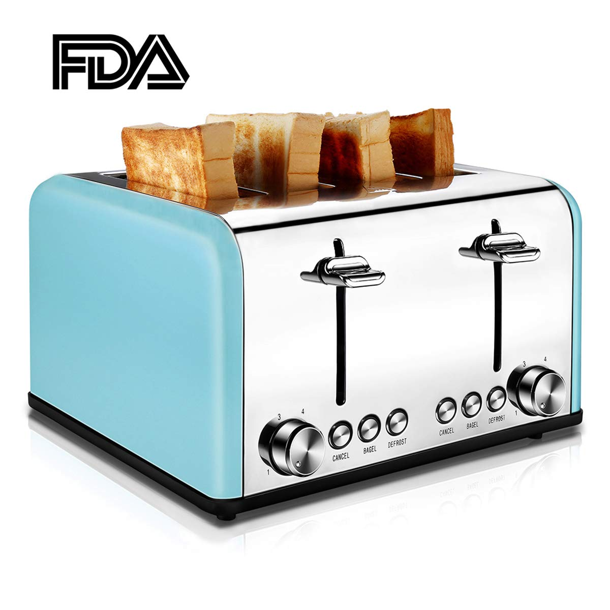 4 Slice Toaster Stainless Steel, CUSIBOX Bagel Toaster Extra-Wide Slots with 6 Bread Browning Settings, BAGEL/DEFROST/CANCEL Function, 1650W, Blue