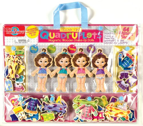 T.S. Shure Teeny Tiny Quadruplets Wooden Magnetic Dress-Up (Girls Magnetic Dress)