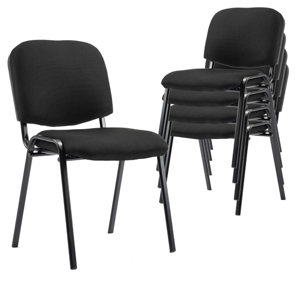 Stacking Conference Chairs, 5 Pack, for Hotel Conference Rooms, Seminars, Events, Training, Churches, Community Centers and Home, (Set of 5), Black