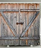 Kipten Rustic Country Barn Wood Door, Old Wooden Garage Door Digital Printing Polyester Antique Theme Shower Curtain with Adjustable Hook 72 x72 Inch