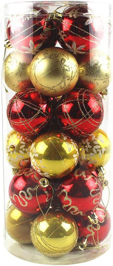 24pcs Christmas Balls, Reusable Christmas Ball Ornaments Shatterproof Christmas Decorations Tree Balls for Holiday Wedding Party Decoration, Xmas Halloween Classic Home Decor - 2.36-Inch