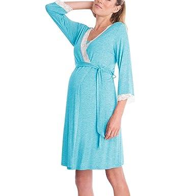 Amphia Premama Lactancia Vestido, Vestido de Pijama de Manga Larga Embarazada Embarazada del Cordón de