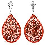 Lovely Victorian Filigree Clip On Earrings for Women & Girls Clip-ons, Lightweight Teardrop Leaf Dangle (Orange)
