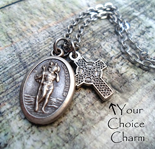 St. Christopher Travel Protection Necklace, Patron Saint of Travelers and Protection, Land Sea and Air, Keychain or Purse-Backpack Clip