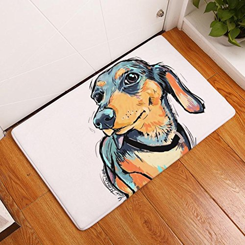 Eazyhurry Long Ear Puppy Dog Print Rectangle Thin Doormat Pet Puppy Dog Printed Coral Fleece Home Decor Carpet Kitchen Floor Runner Floor Mat Indoor Outdoor Area Rug 16