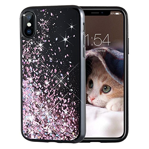 Maxdara iPhone X Case, iPhone XS Glitter Liquid Sparkle Floating Luxury Bling Quicksand Shockproof Protective Bumper Silicone Case Pretty Fashion Design for Girls Children for iPhone X/XS (Rosegold)