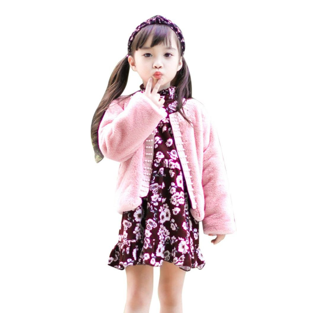 FimKaul Coat,Baby Girls Faux Fur Coat Jacket Cardigan Warm Thick Outwear Clothes (5T, Pink)