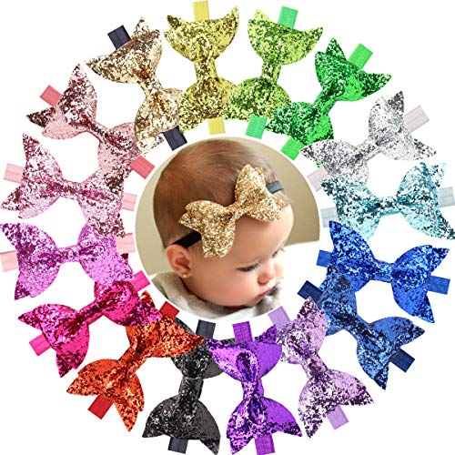 (16 Pcs Baby Girls Headbands Big Glitter Sequins 4