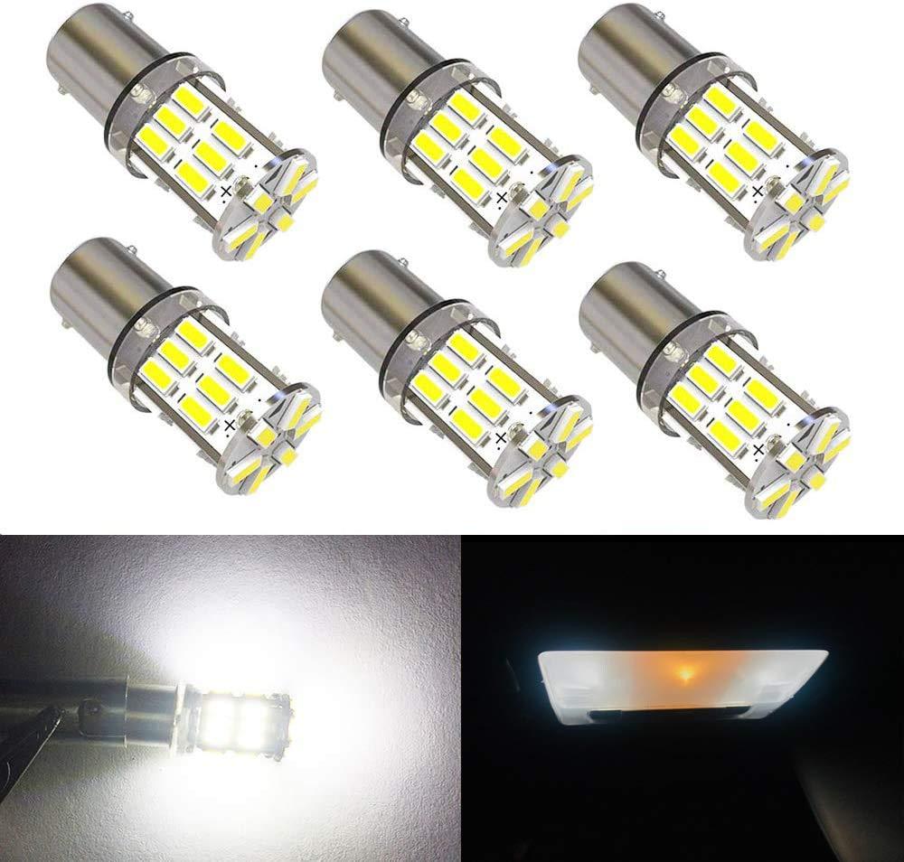 BlyilyB 6-Pack BA9S 3014 30SMD 6000K White BA9 BA9S 53 57 1895 1445 17053 64111 LED Bulbs Side Door Courtesy Lights Cargo Lights Gauge Lights