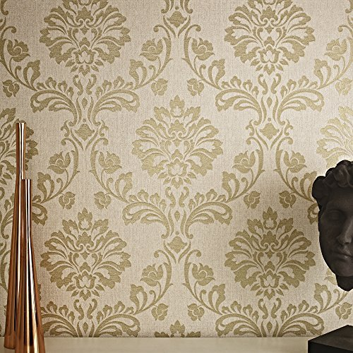 Graham & Brown 20-707 Aurora Wallpaper, Beige/Gold