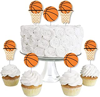 product image for Big Dot of Happiness Nothin' but Net - Basketball - Dessert Cupcake Toppers - Baby Shower or Birthday Party Clear Treat Picks - Set of 24