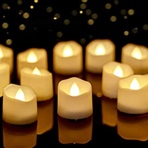 Homemory Timer Tea Lights Bulk, Lasts 2X Longer, Set of 12 Realistic Flameless Candles, Flickering Bright LED Tealights Candles, Warm White, 1.57'' D x 1.37'' H, Ideal for Thanksgiving Christmas Decor