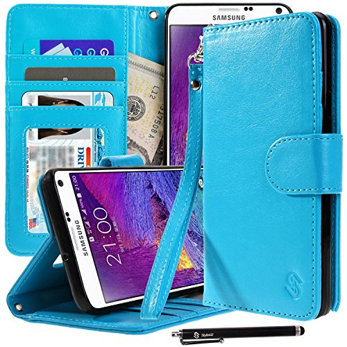 Galaxy S6 Edge Plus Case, Style4U Premium PU Leather Stand View Wallet Flip Case with ID Credit Card/Cash Slots for Samsung Galaxy S6 Edge Plus + 1 Stylus [Blue]