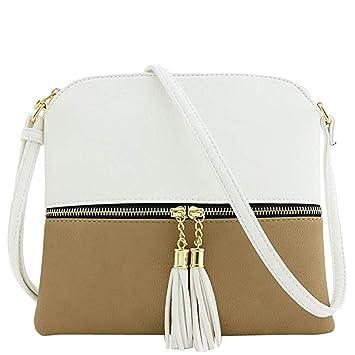 94a6d3bb3a6e Amazon.com: Snowfoller Women Leather Patchwork Messenger Bag Zipper ...