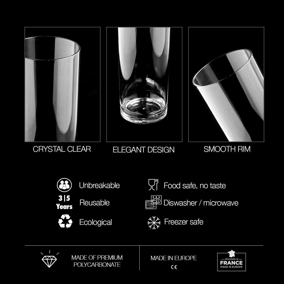 RB Copas de Vino Negro Pl/ástico Premium Irrompible Reutilizable 25cl Set de 6