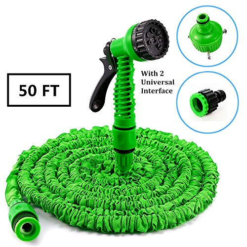 Expandable Garden Hose 50ft Lightweight Flexible Water Hose With 7  Adjustable Modes Spray Gun Water Nozzle