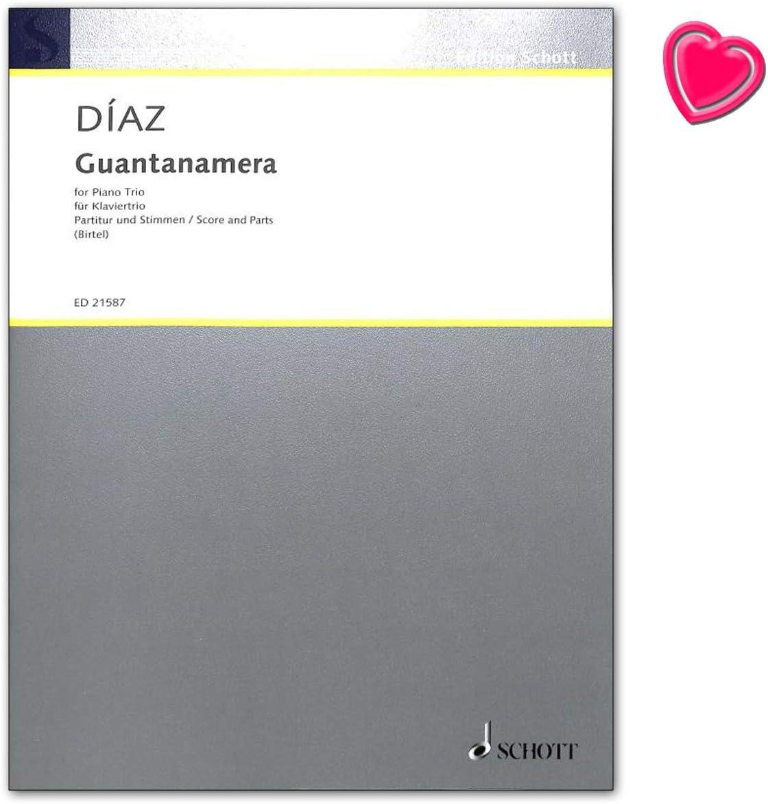 Diaz Guantanamera para violín, violonchelo y piano - Cuaderno de partituras con clip en forma de corazón - ED21587 9790001192071