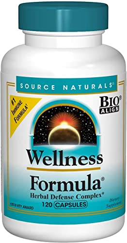 Source Naturals Wellness Formula Bio-Aligned Vitamins Herbal Defense – Immune System Support Supplement Immunity Booster – 120 Capsules