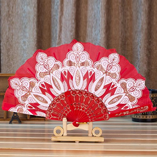 Chinese/Spanish Style Dance Wedding Party Lace Silk Folding Hand Held Flower Fan (Chinese Themed Dance Costumes)